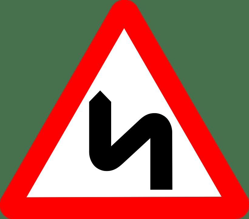 Warning sign transparent png. Clipart road zigzag road