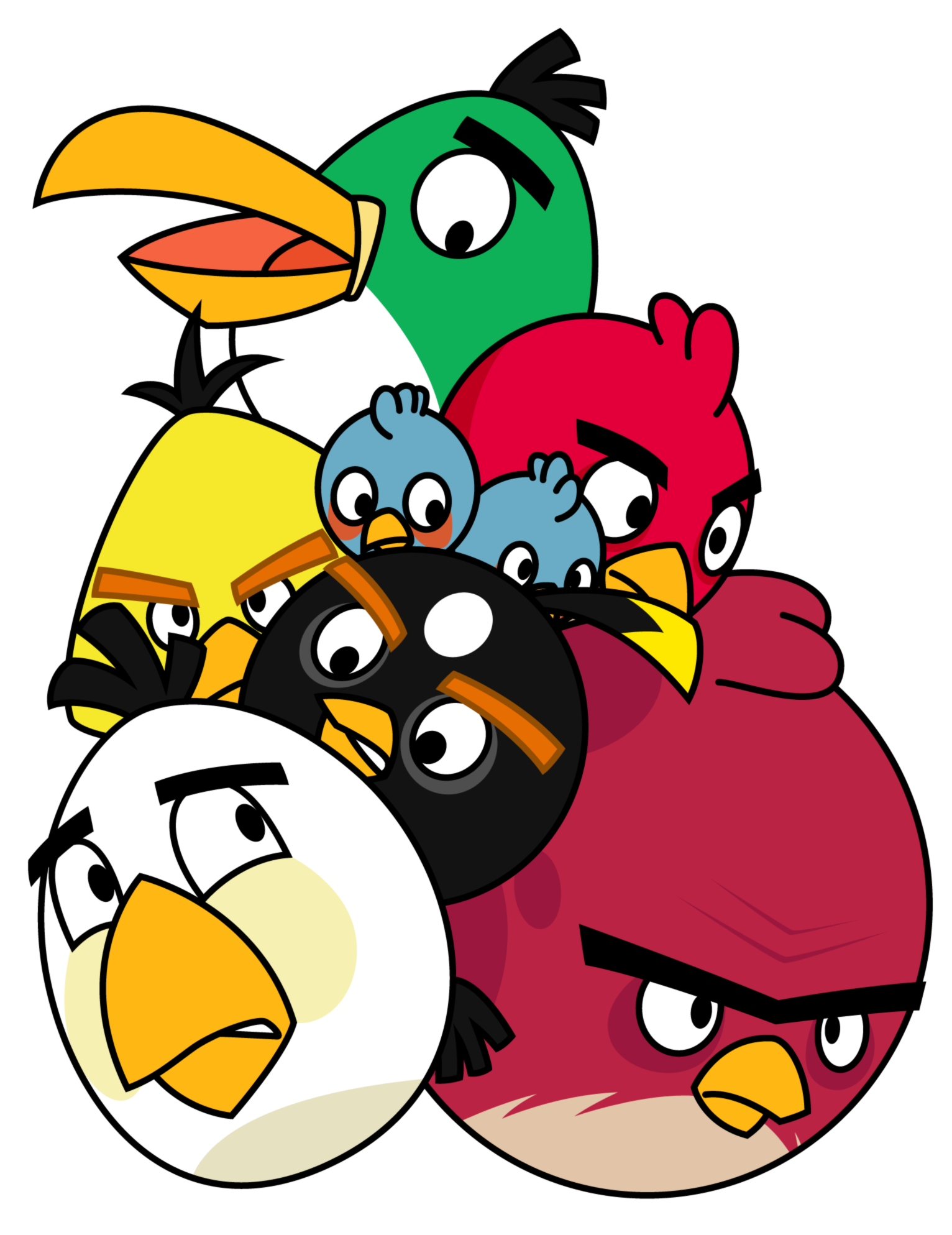 Pile of angry birds. Mad clipart cross