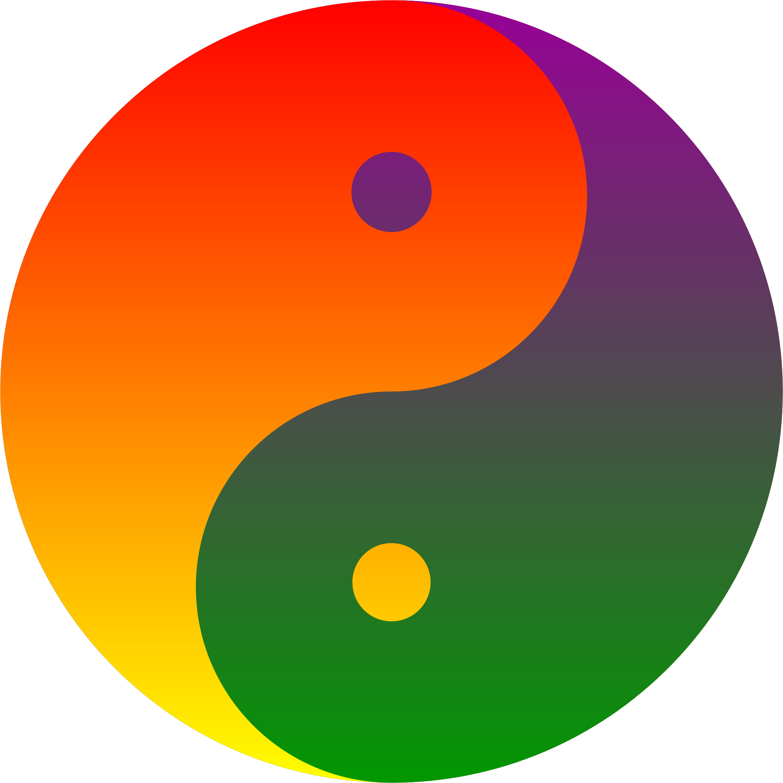 Positive clipart positive mindset. Rainbow blend yin yang