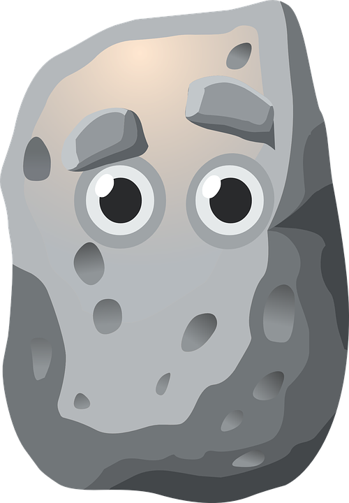 Animated gray with clip. Clipart rock face