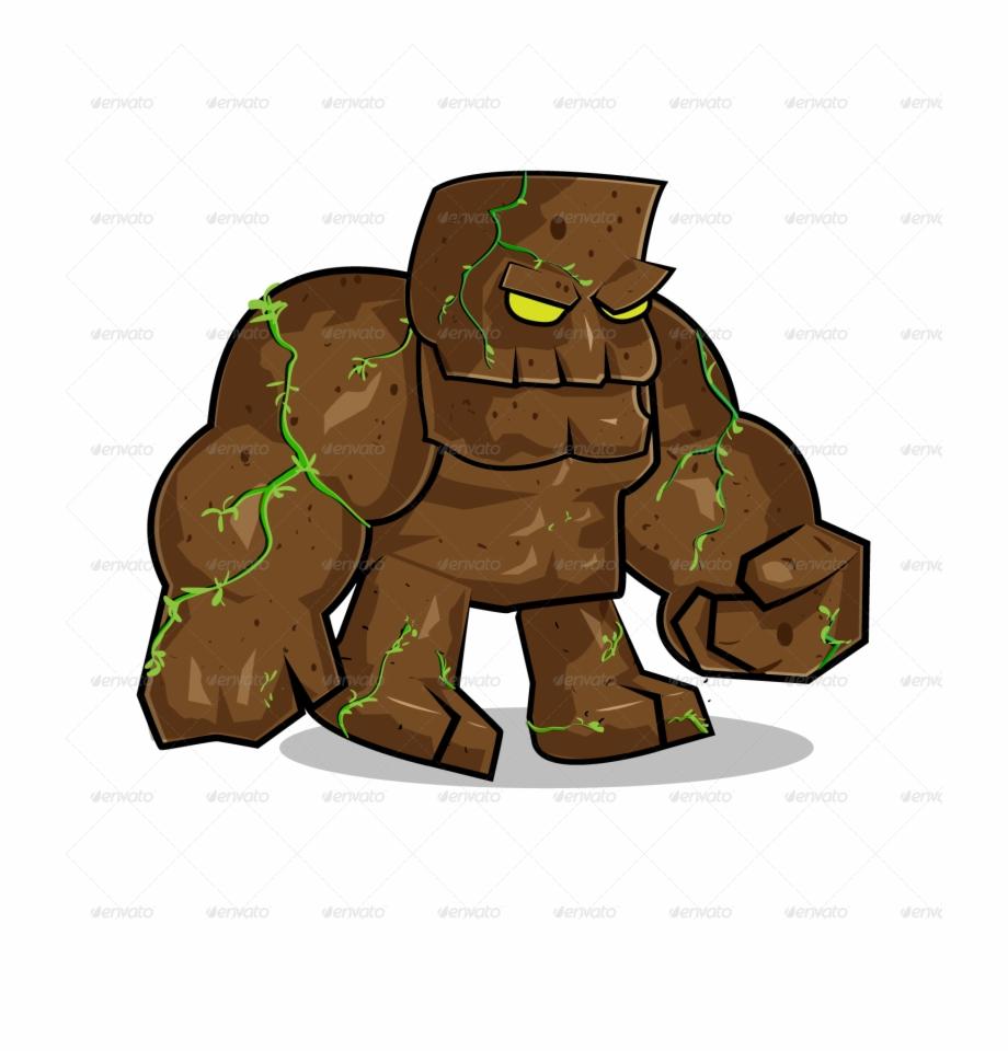Clipart rock giant. Stone monster cartoon clip