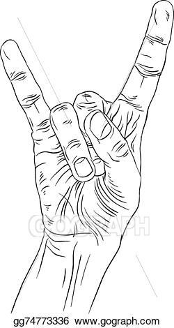 Clipart rock heavy rock. Vector illustration on hand