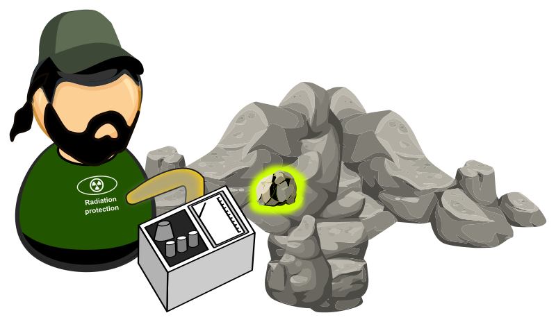 Clipart rock ore. Searching for radioactive minerals
