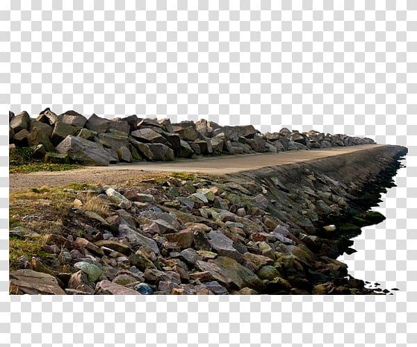 Gray concrete dock during. Clipart rock river rock
