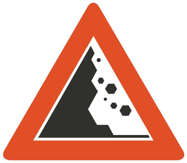 Falling rocks warning clip. Clipart rock rock fall