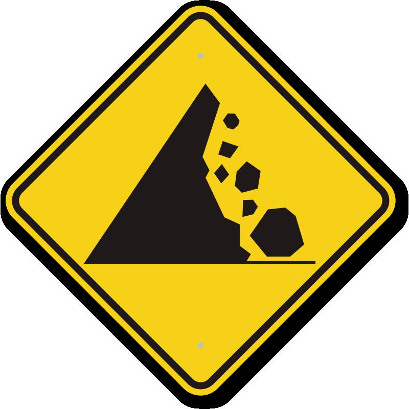 Falling rocks signs mysafetysign. Clipart rock rock slide