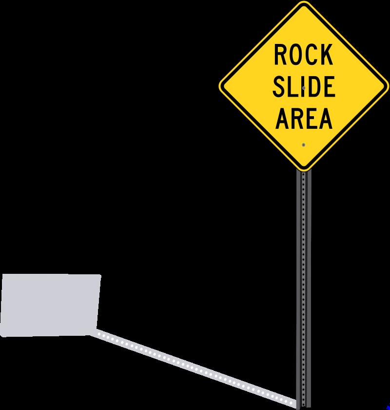Rockslide sign with shadow. Clipart rock rock slide