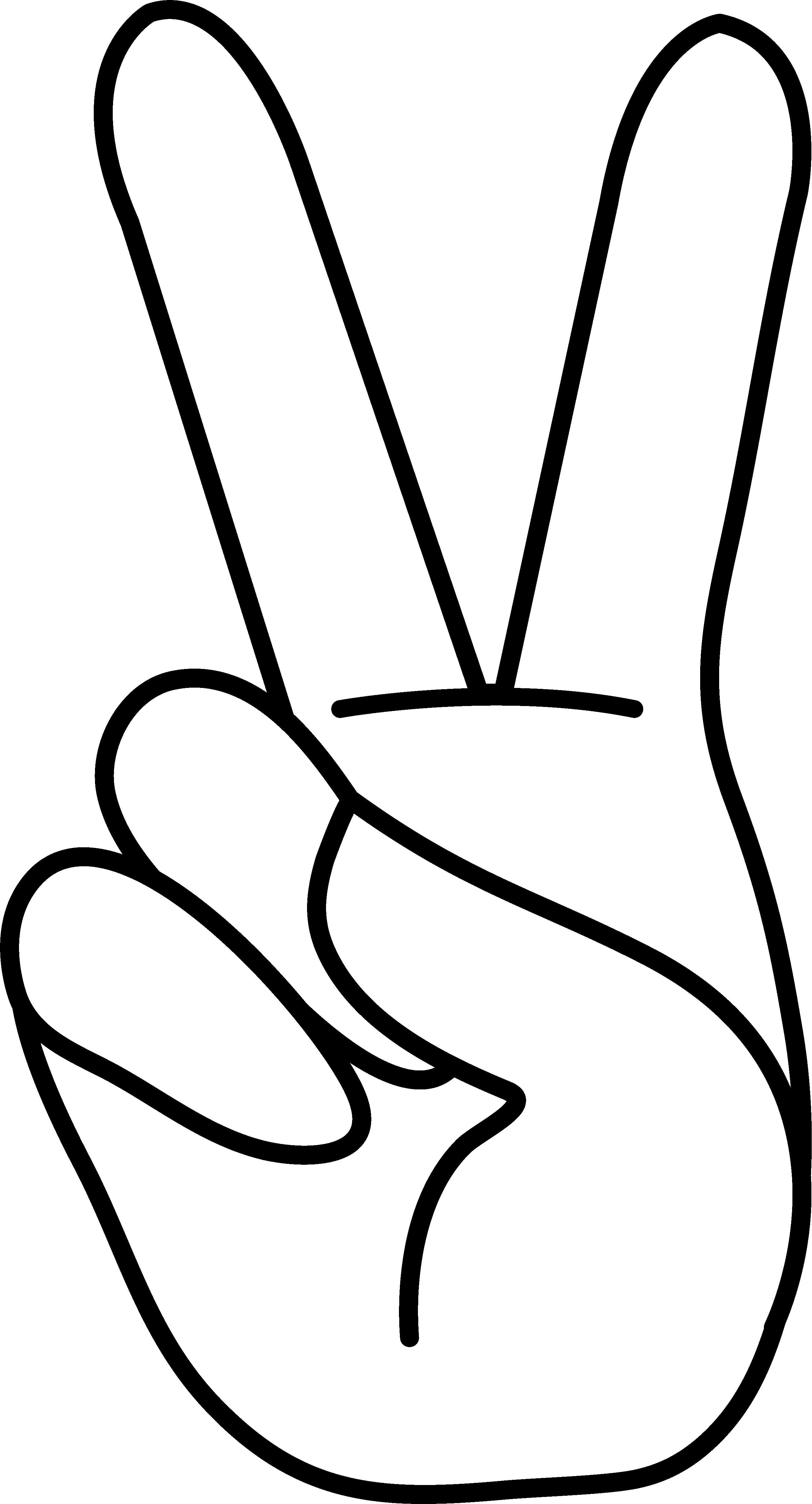 Peace sign line art. Hand clipart cut out