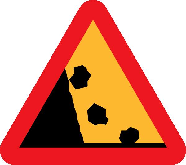 Clipart rock sign. Falling rocks road clip