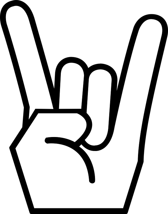 Rock clipart black and white. N roll sign hand