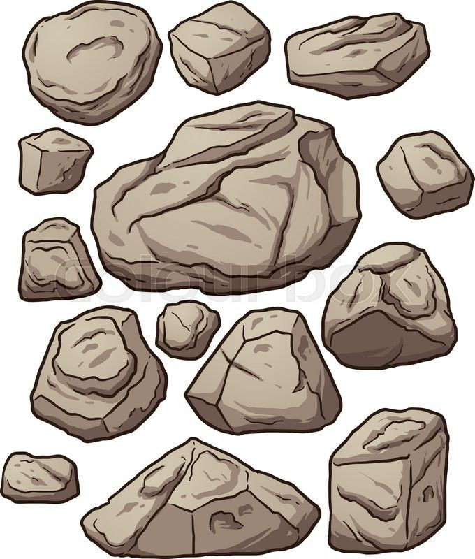 Stock vector of cartoon. Clipart rock simple