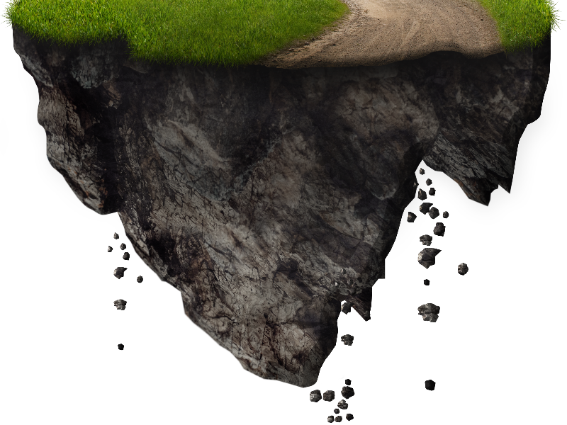 Clipart rock soil. Floating island with falling