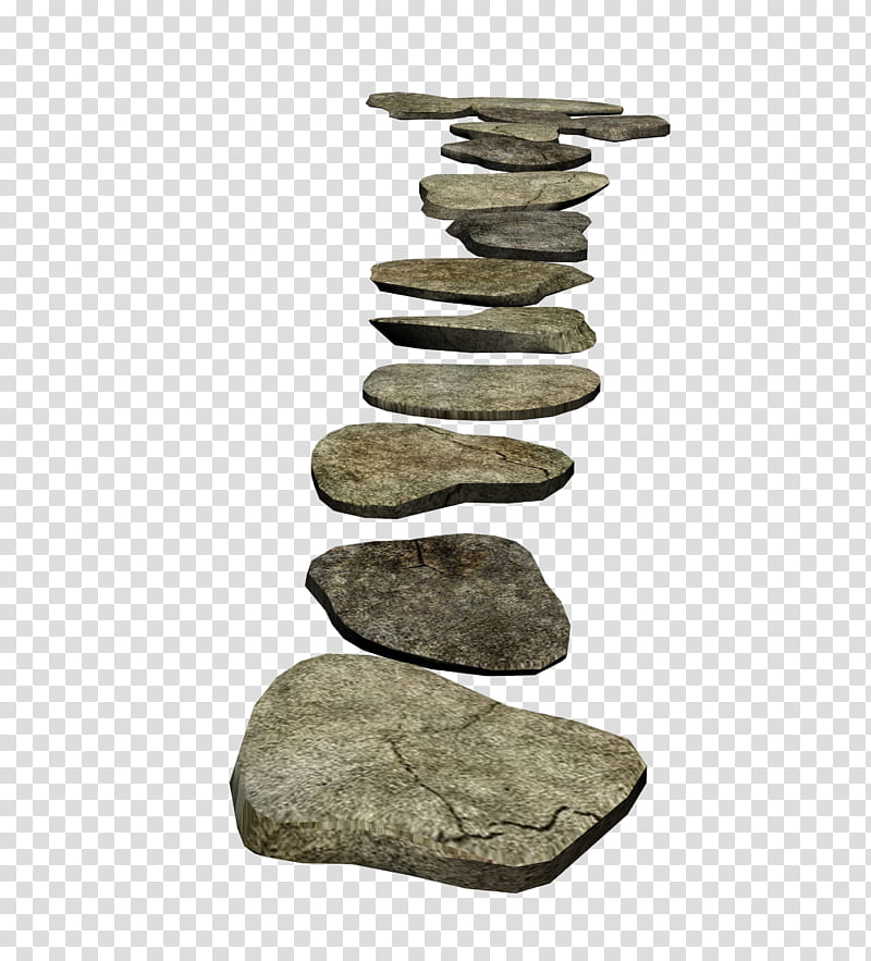 D stones gray flat. Clipart rock stepping stone