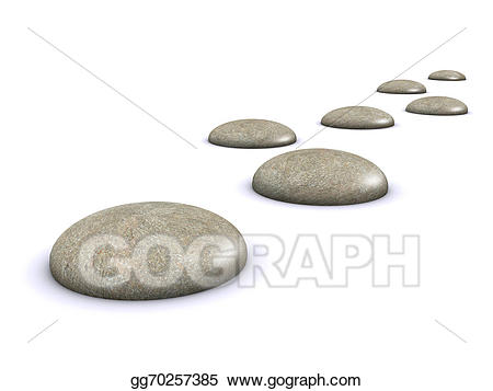 Stock illustration d stones. Clipart rock stepping stone