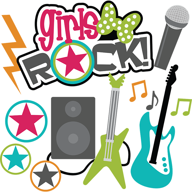 Teen clipart svg. Girls rock scrapbook collection