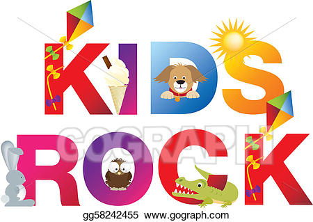 Stock illustration the kids. Clipart rock word