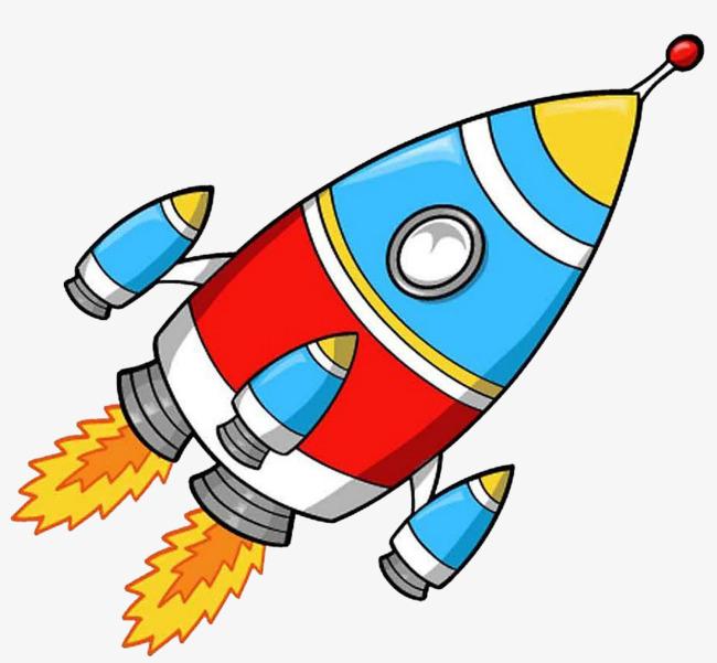Clipart rocket. Vector flat cartoon fire