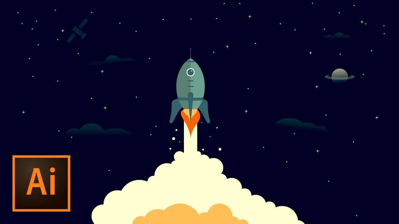 Ship outer space illustration. Clipart rocket adobe illustrator