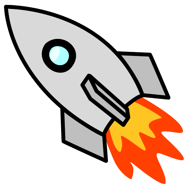 Project in space animation. Clipart rocket balloon