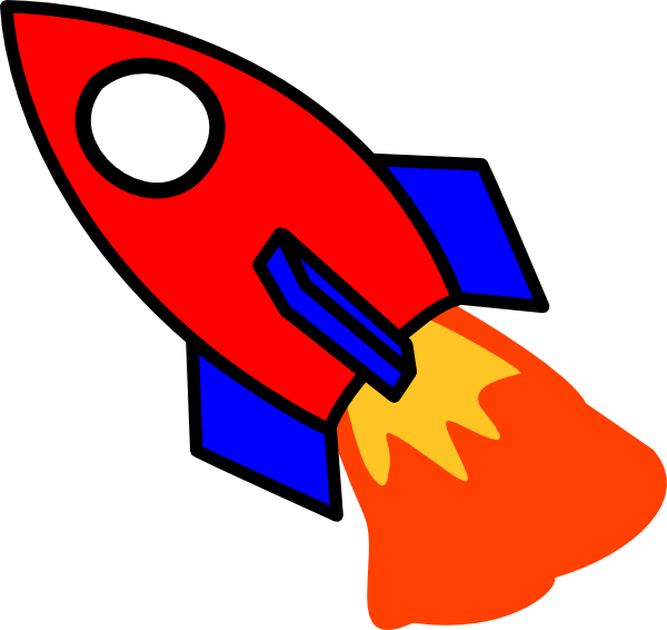 Red and clip art. Clipart rocket blue