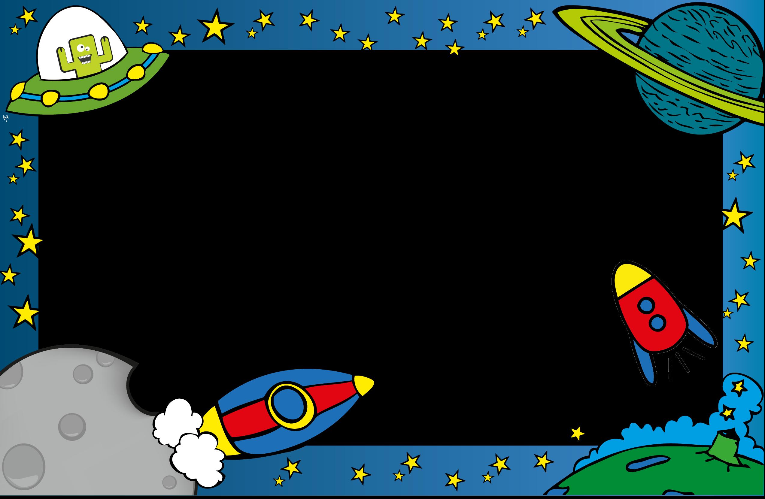 Spaceship clipart border. Marcos para hojas de
