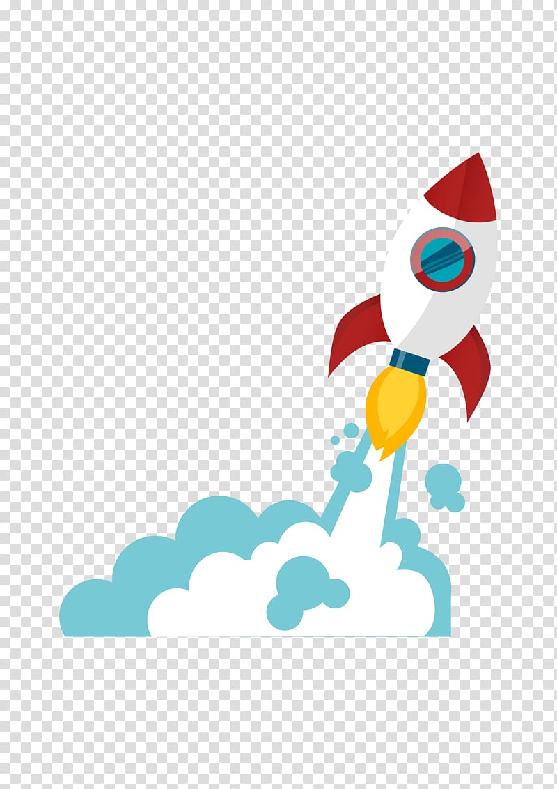 Clipart rocket cloud. White and red icon
