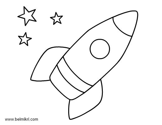 Clipart rocket colour. Coloring page for preschool