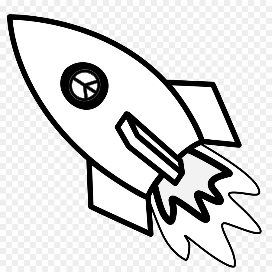Clipart rocket colouring page. Book black and white