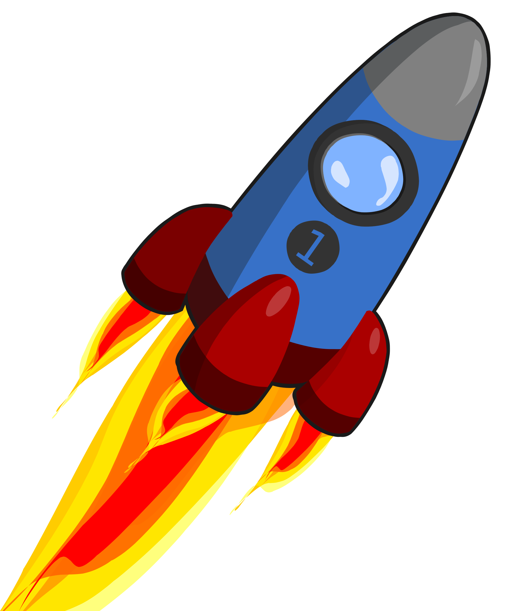 Animation of rocket blue. Spaceship clipart red