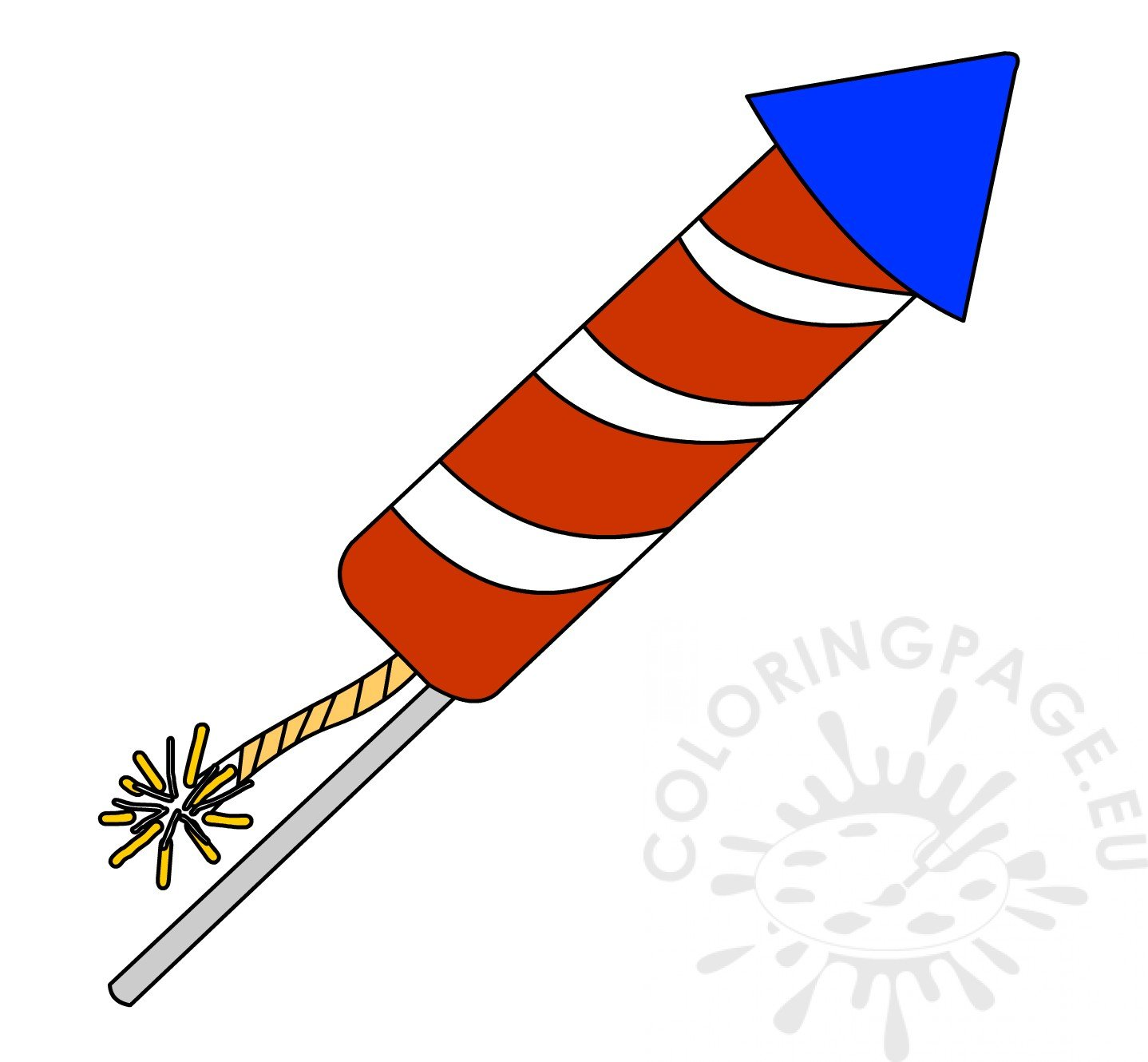 Clipart rocket firework. Red and white striped