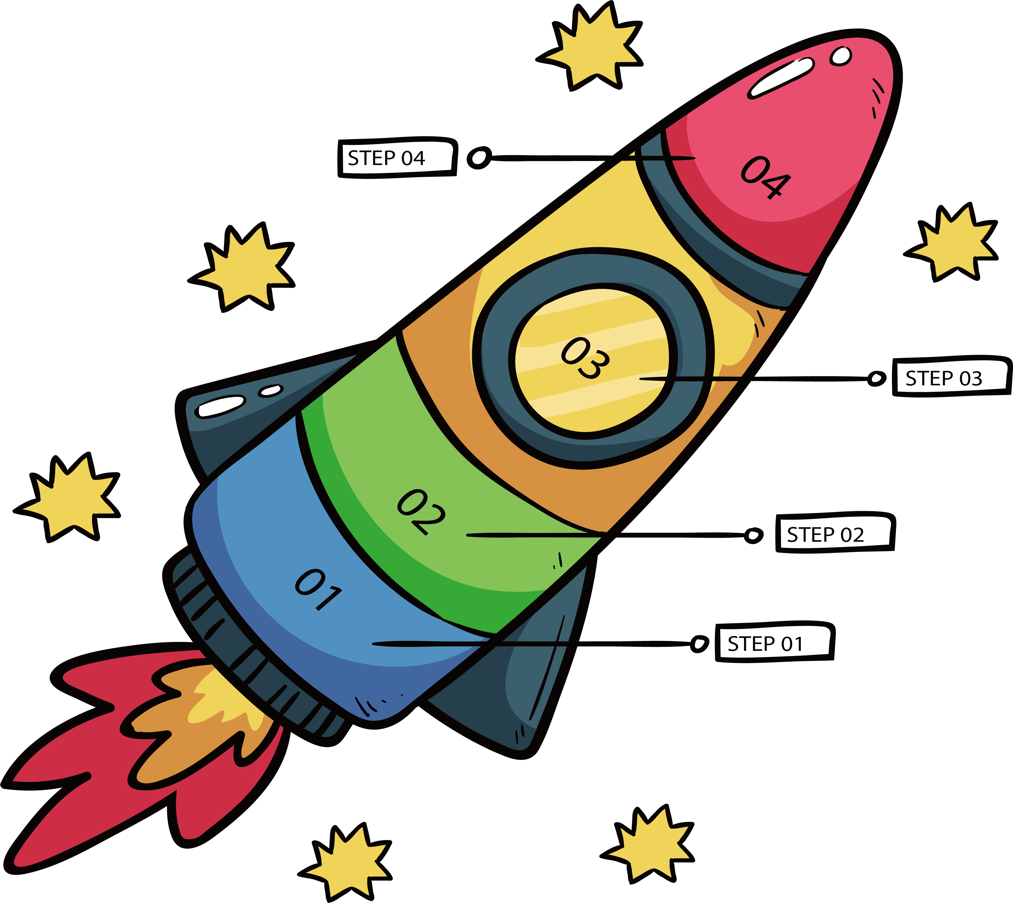 Infographic clip art cartoon. Clipart rocket fourth july