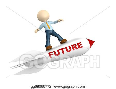 Clipart rocket future. Stock illustration d people