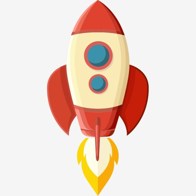 Flying boost business concept. Clipart rocket future