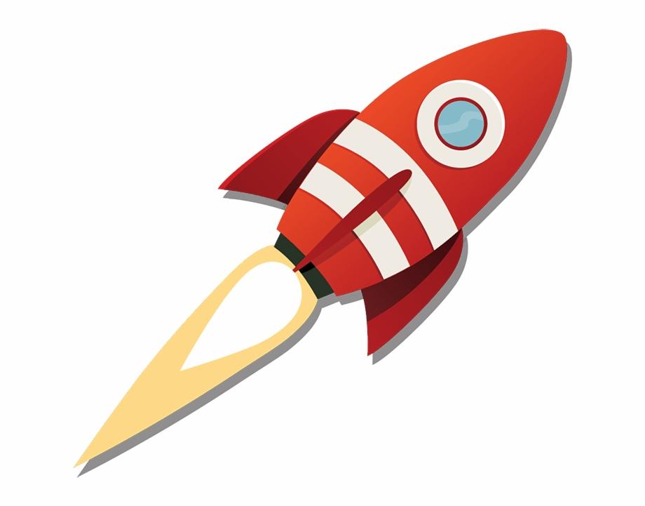 Rocketship launch transparent cartoon. Clipart rocket launched