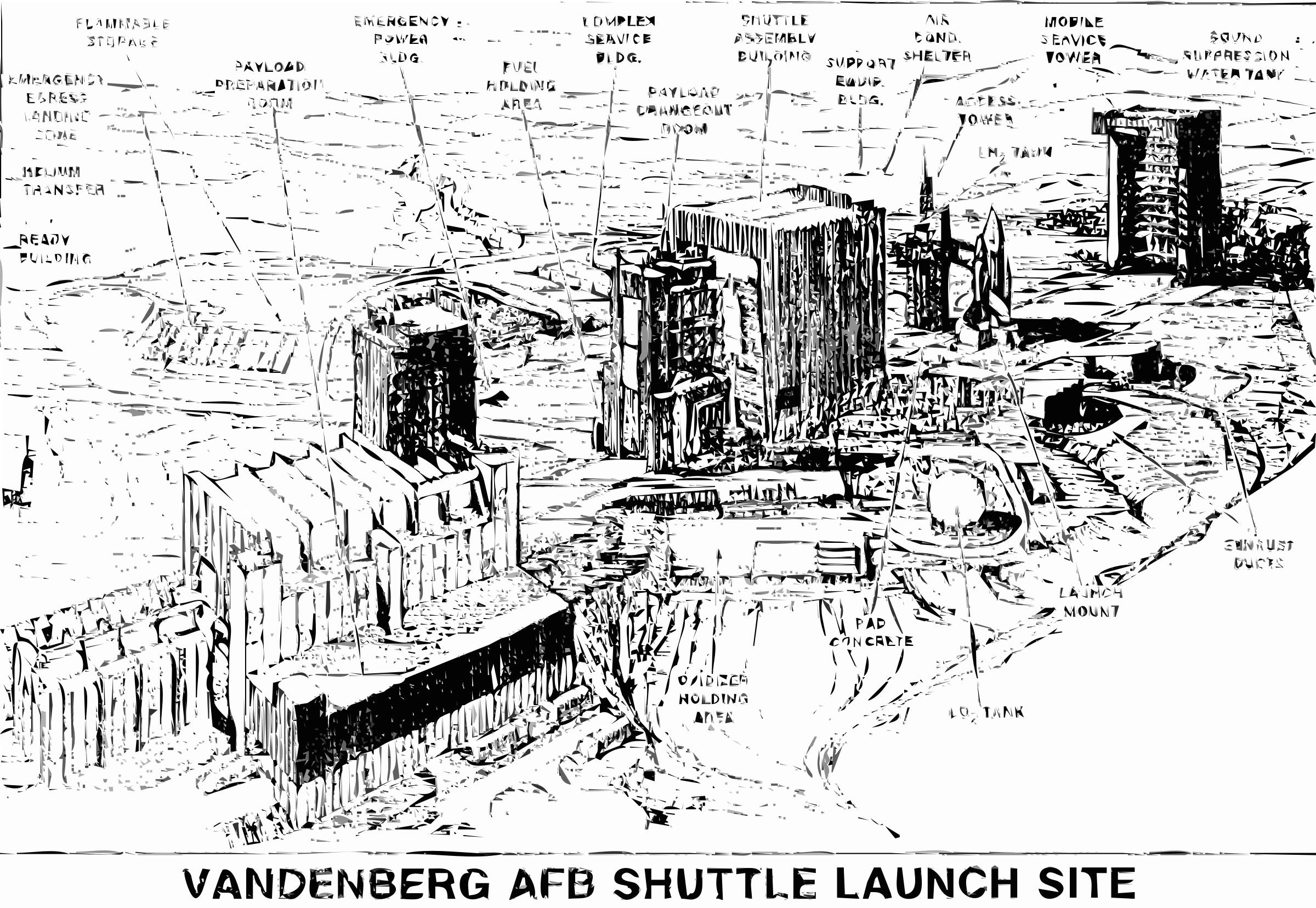 Vandenberg shuttle launch drawing. Clipart rocket launching pad