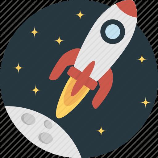 Clipart rocket moon rocket.  science flat icons