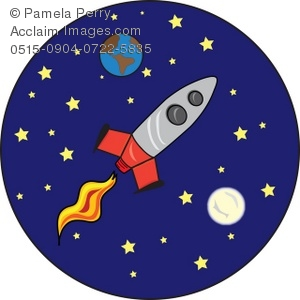Clipart rocket outer space. Clip art illustration of