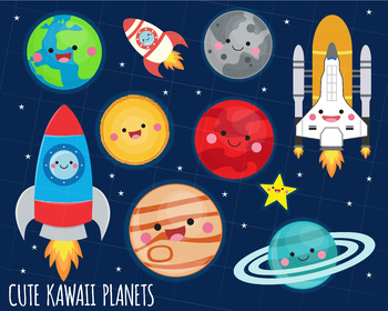 Clipart rocket planet. Solar system kawaii planets