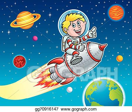 Clipart rocket planet. Vector illustration kid blasting