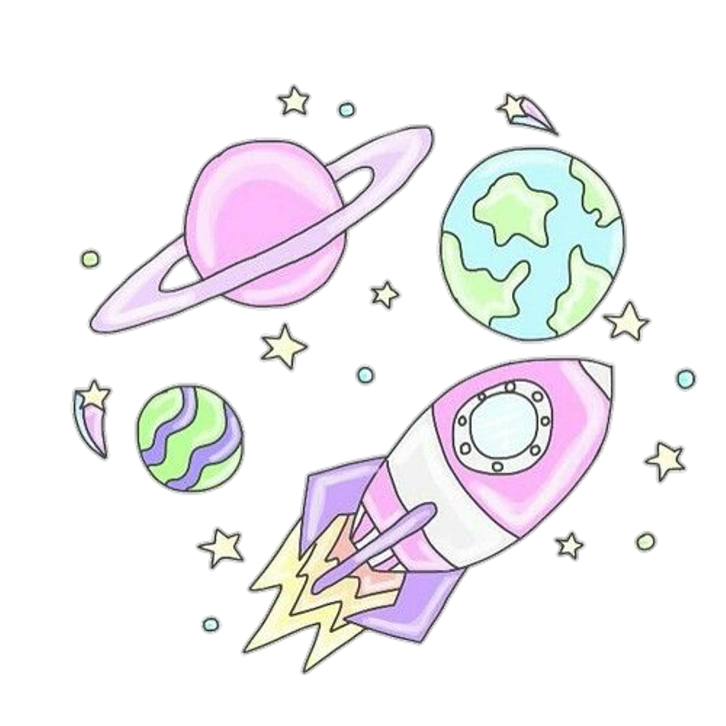 Planeten clipart collage. Rocket planet s pastel