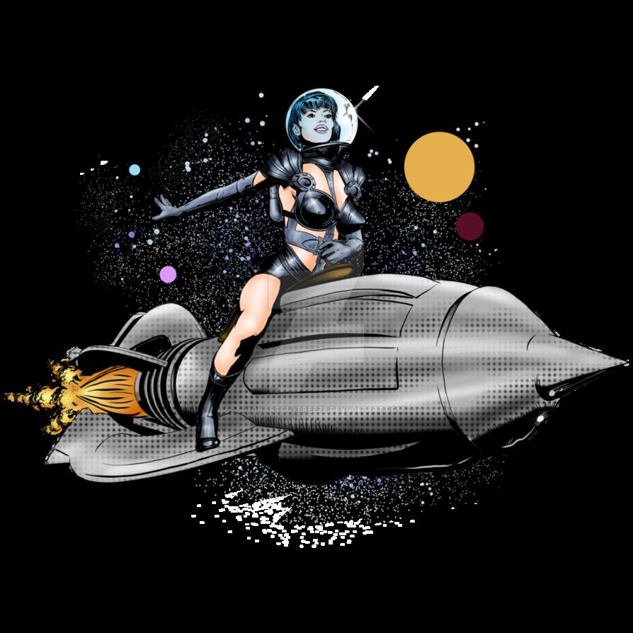 Spaceship clipart retro. Rocket girl by simonartguybreeze