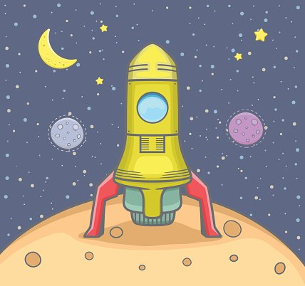 Clipart rocket rocket landing. On the planet with
