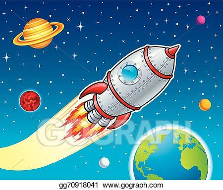 Galaxy clipart rocket ship. Vector blasting through space