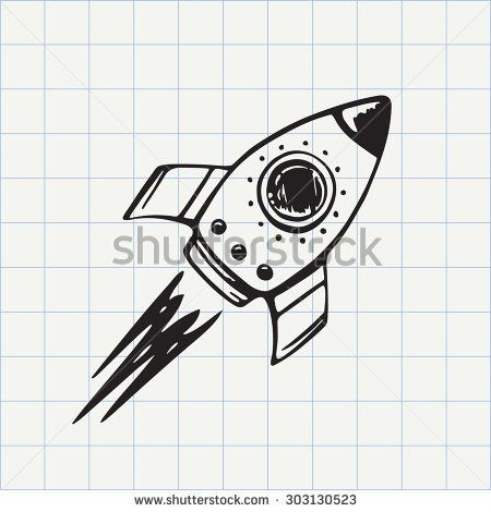 Ship doodle icon hand. Clipart rocket sketches