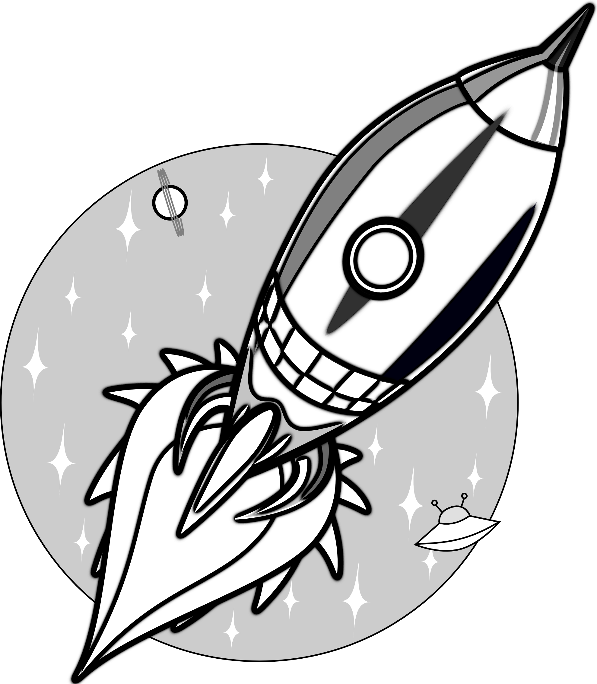 Clipart rocket space craft. Black and white panda