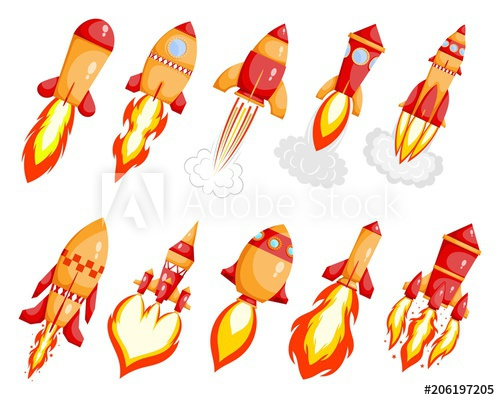 Set starting on white. Clipart rocket space transportation