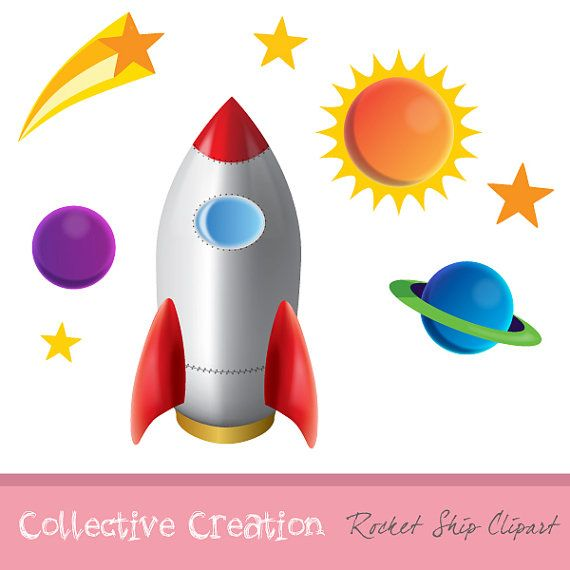 Clipart rocket star. Ship planets and stars