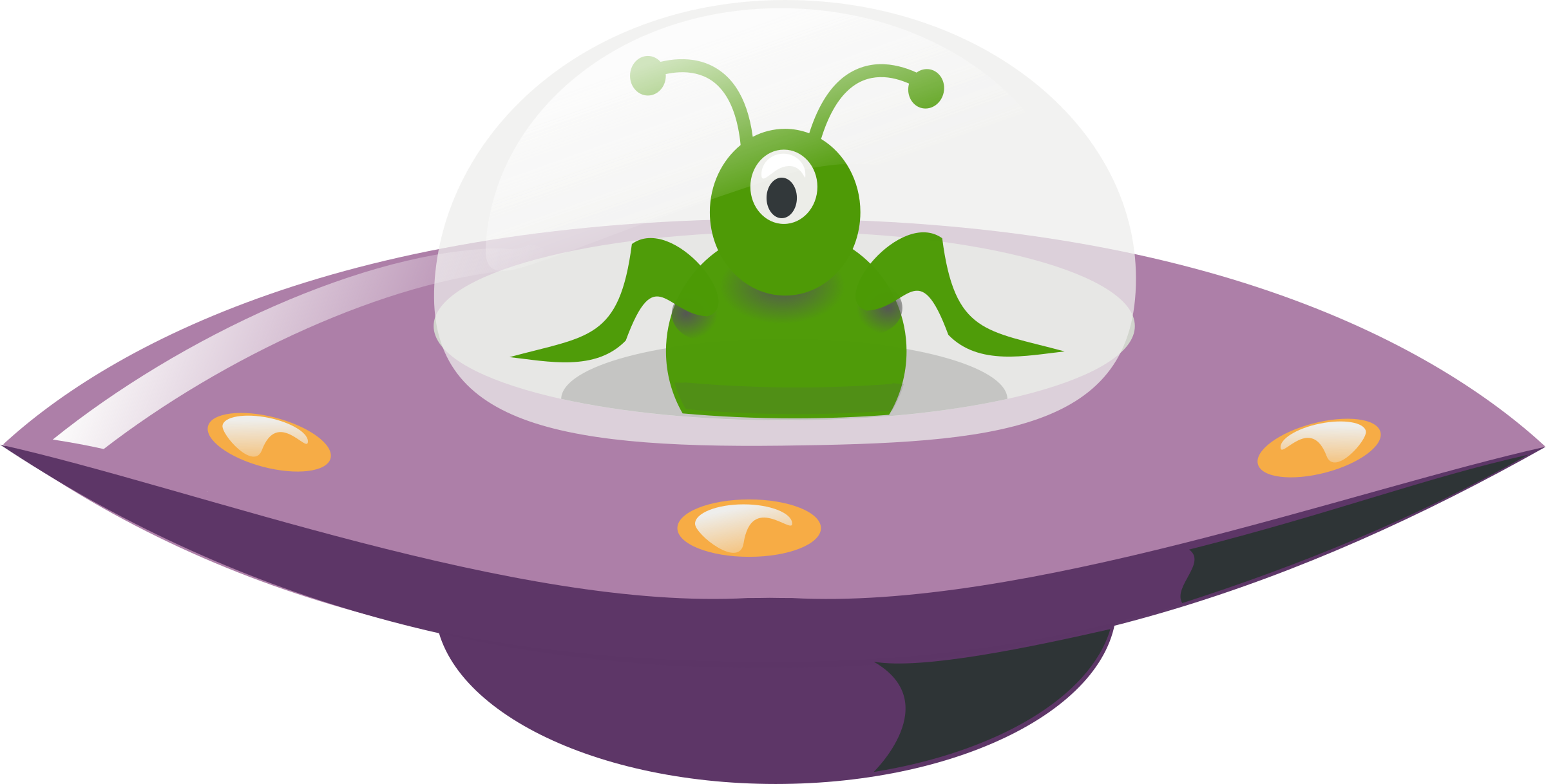 Ufo in cartoon style. Clipart rocket trail