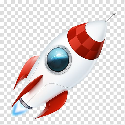 White and red illustration. Clipart rocket transparent background