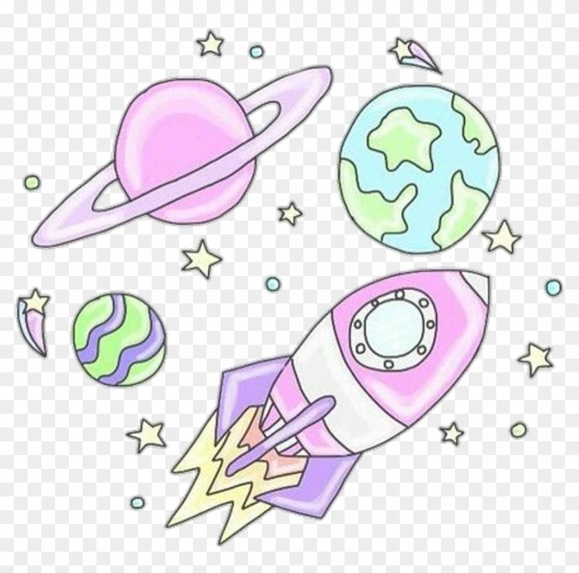 Planet s pastel doodle. Clipart rocket tumblr transparent